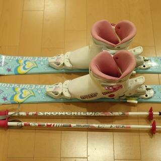 【取引中】キッズスキーセット板80cm、靴17センチ、ポール70...