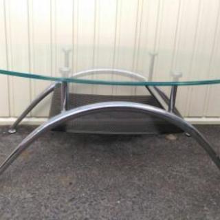 ガラス天板 ローテーブル 座卓 美品 程度良好 配達OK - 家具