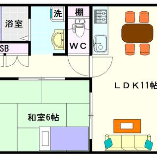 【サンライフⅡ】3号タイプ!1LDKタイプ!ちょっとスーパーまで距...
