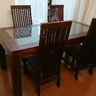 バリ家具 テーブル 椅子 4脚セット