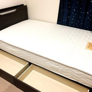 セミダブルベッド+マットレス+ベッドパッド+シーツ2枚