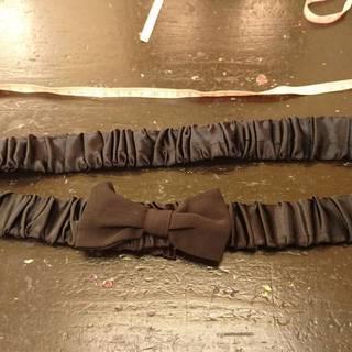 新品未使用 サテンのベルト ギャザー ゴム リボン  大きなサイ...
