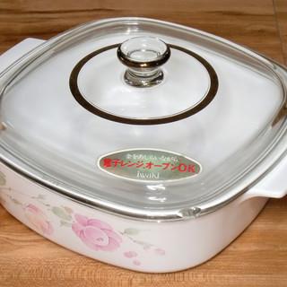 【無料】★ガラス製の蓋付き陶器の鍋★iwaki★電子レンジ・オー...