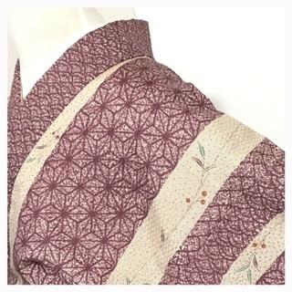 Mサイズ 麻の葉 単衣の洗える 小紋 美品