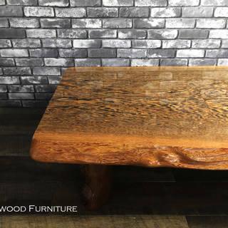 高級材 タガヤサン 鉄刀木 無垢材 一枚板 座卓 ちゃぶ台 和風...