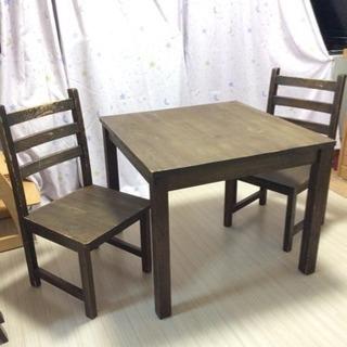 天然木テーブルセット正方形