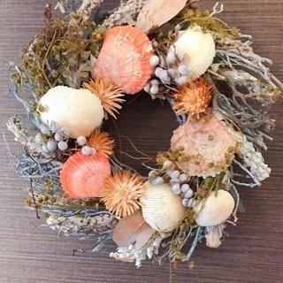 貝殻とお花のリース(壁飾り)
