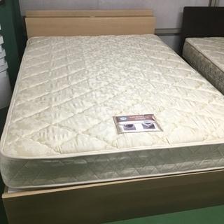 現状品!ダブルベッド ベッド ダブル マットレスあり 木製 ウッド...