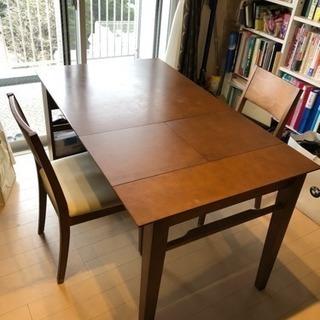 伸縮式ダイニングテーブル&椅子2脚セット