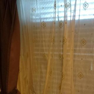 腰高窓カーテン、遮光とレースのセット