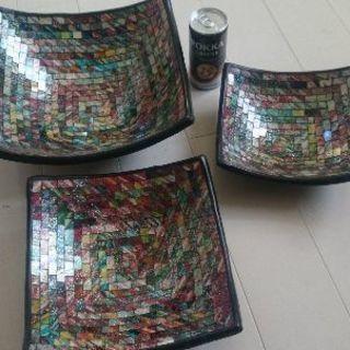 バリ土産ガラスのきれいな器大中小の3つセット