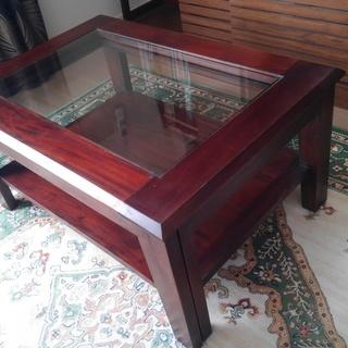 木製ガラス天板テーブル 伸縮