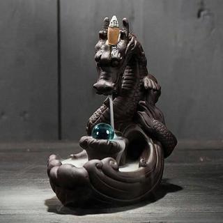 お香 倒流香用 龍の香炉 青い玉ドラゴン