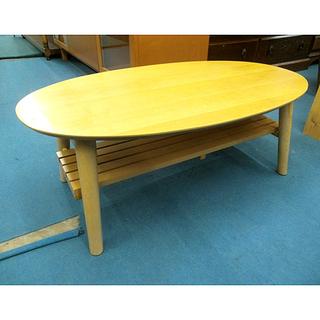 札幌【オーバル型の折りたたみテーブル】幅90cm 棚板付 ちゃぶ台...