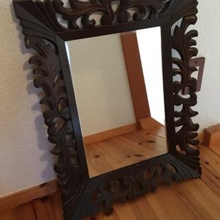 値下げ 昭和レトロ 木枠の鏡