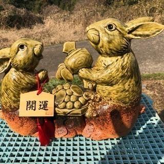 信楽焼 ウサギの置物