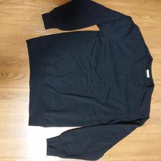 値引き☆【未使用】GU黒色裏起毛トレーナーSサイズ