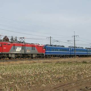 鉄道写真 EH500形+14系客車(東武鉄道譲渡)