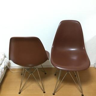 椅子 2脚セット ブラウン 茶色