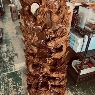 木彫り 龍の置物 約102cm ずっしり重量級 中古 欠けあり