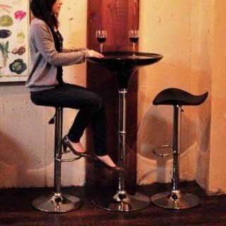 ラウンド バーテーブル&レザーバーチェア 3点セット