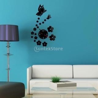 壁掛時計 花と蝶 ブラック 【yh700-1】