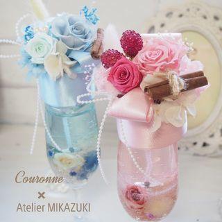 【バレンタイン】フラワーカクテル キャンドルとお花のアレンジメント