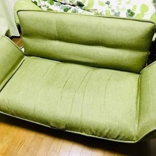 【リクライニングカウチソファー】色:グリーン≪直接引取り限定≫
