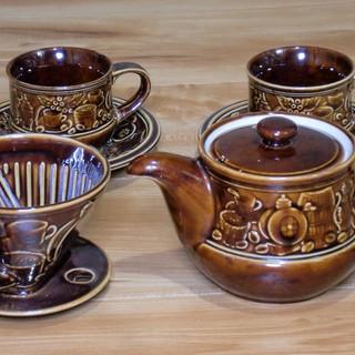 ★陶器のドリッパーとポット★コーヒーカップと皿の2客セット