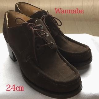 定番靴◆シンプル 紐Wannabe サイズ 38 24.0㎝ ヒー...
