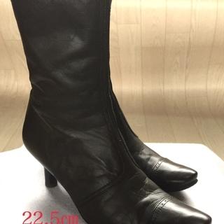 ショートブーツ◆靴 ブラウン ファスナー付き  サイズ22.5㎝
