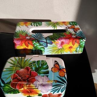 ハワイ柄⑮ ティッシュケース&ウェットティッシュケース
