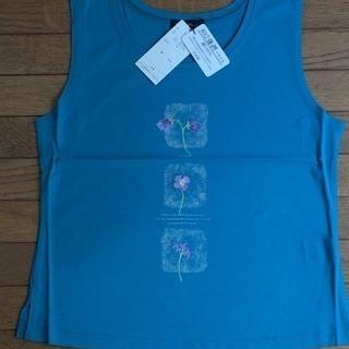 花刺繍高級タンクトップ  ターコイズブルー  新品