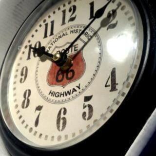 クオーツ式掛時計◆Route66黒◆ヴィンテージ調 未使用