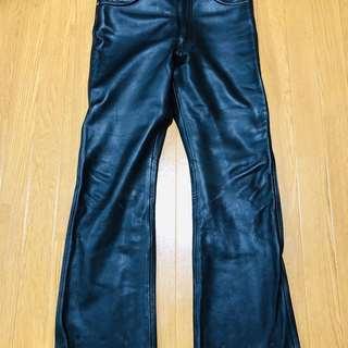 【size 34】黒 レザーパンツ w88cm 股下92㎝【Ha...