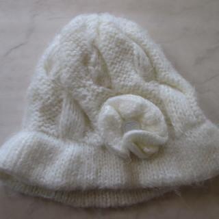 毛糸 帽子 フリーサイズ お花付き