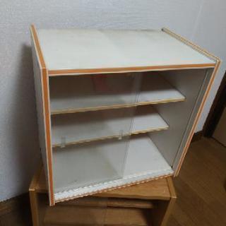 昭和レトロ 小さな食器棚 ガラス戸 オレンジ