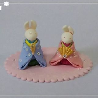 クレイクラフト教室「ウサギのひな人形作り」&椿