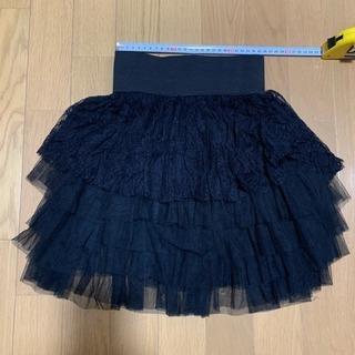 美品‼️女児スカート レース ウエスト 51センチ以上 ブラック 黒