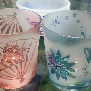 砂で削るガラス彫刻 好きな絵や文字が簡単にグラスに入れられますよ!...