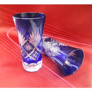 札幌【瑠璃色の切子×2個セット】手づくりきりこ彩 元箱付 グラス ...