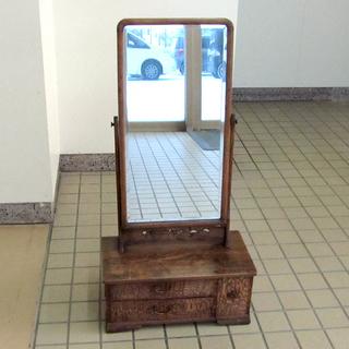 和家具 昭和アンティーク ケヤキ張 鏡台 ドレッサー 1面鏡 和家...