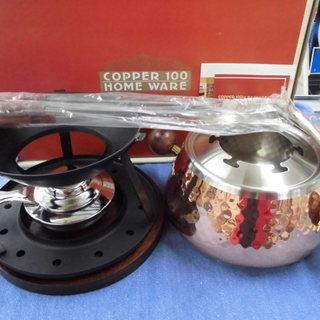 copper100 フォンデュセット 銅製品 両手鍋 フォ…