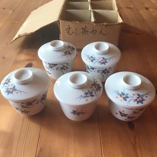 新品 未使用 レトロ 和食器 茶碗蒸し 5客セット 花鳥