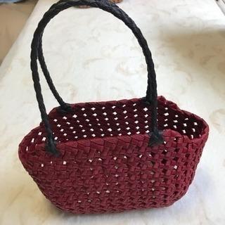 ✴️石畳編みバッグ 濃赤✴️