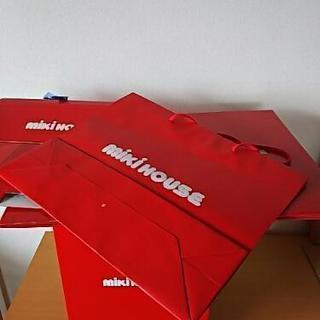 ミキハウス 紙製 ボックス 2ヶ、バッグ、ショップ袋1枚
