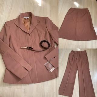 新品 タグ付き スーツ 4点セット 5号 ブラウン スカート パ...