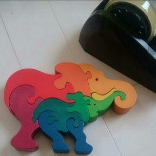 木のおもちゃ、木のパズル、パンダと象のセット知育【まりこ風味】
