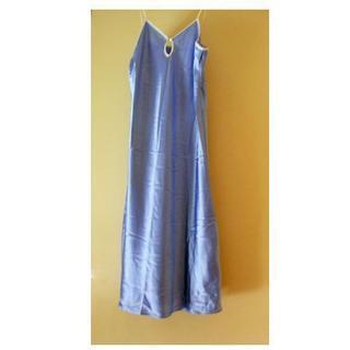 【美品】NYで購入 ネグリジェ ドレス ワンピース・光沢ブルー
