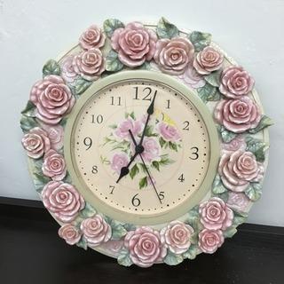 薔薇の掛け時計(傷あり)
